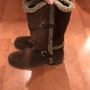 Stuart Weitzman Brown Suede and Sherpa Boots - 8.5